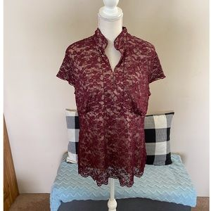 Lane Bryant Burgundy Lace Top Size 14/16